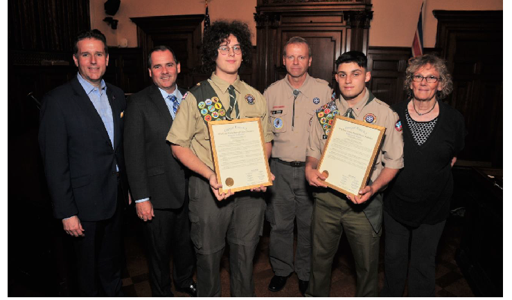 Essex County Freeholders Honor Nutley Students on Being Named Eagle Scouts with Bloomfield Boy Scout Troop